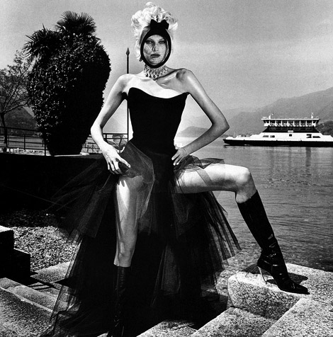 Boot Fashion: Shirley Mallmann in Thierry Mugler Knee High Boots. Vogue Italia, 09.1996.