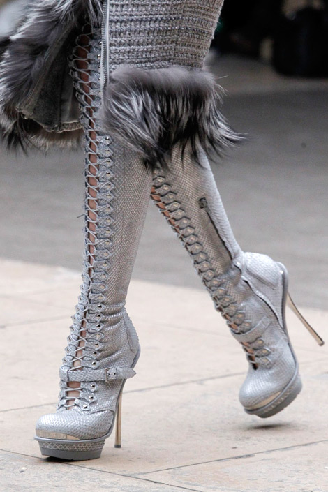 Boot Fashion: Alexander McQueen Thigh High Boots Details. Fall/Winter 2012.