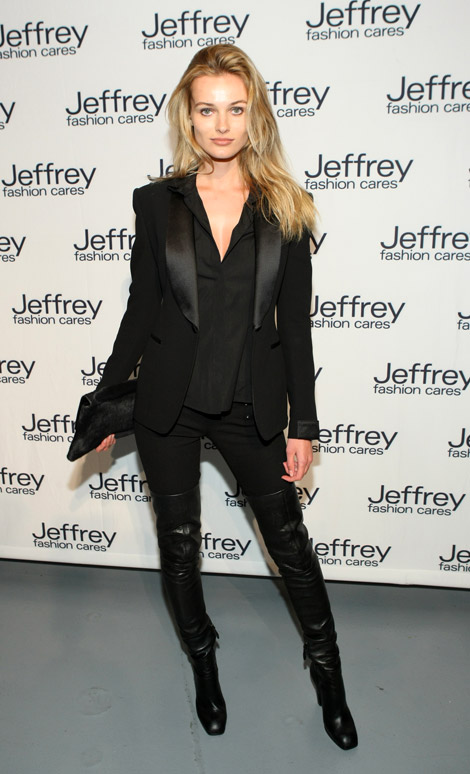 Boot Fashion: Edita Vilkeviciute in Yves Saint Laurent Thigh High Boots. New York City, 03.26.2012.