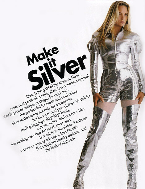 Vintage Boots: Emma Sjöberg in Thierry Mugler Silver Leather Thigh High Boots. Elle US, 09.1990.