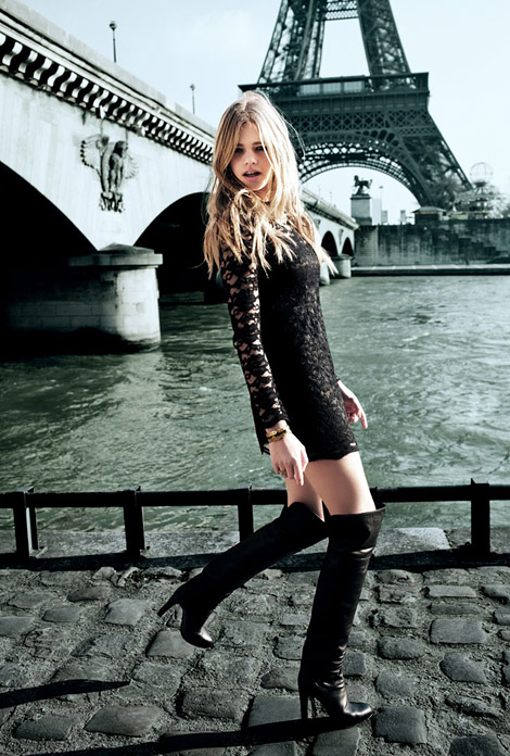 Boot Fashion: Valerie van der Graaf in Naima Over The Knee Boots. Naima Fall/Winter 2012 Look Book.