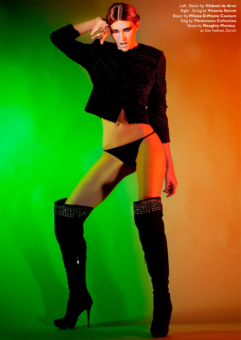 Boot Fashion: Bianca Bauer in Naughty Monkey Studded Thigh High Boots. Factice Magazine #5.