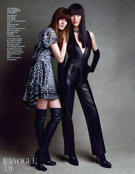 Boot Fashion: Jac Jagaciak in Yves Saint Laurent Thigh High Boots. Vogue China, 07.2012.