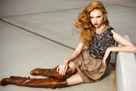 Boot Fashion: Nataliya Piro in Casadei Thigh High Boots. Marie Claire Russia, 12.2010.