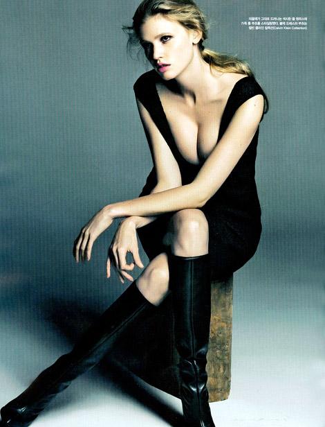 Boot Fashion: Lara Stone in Calvin Klein Knee High Boots. Vogue Korea, 08.2012.