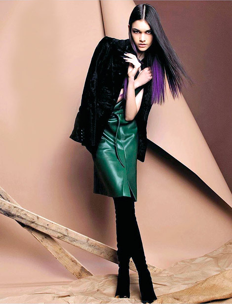 Boot Fashion: Isabella Melo in Yves Saint Laurent Thigh High Boots. Amica Italia, 08.2012.