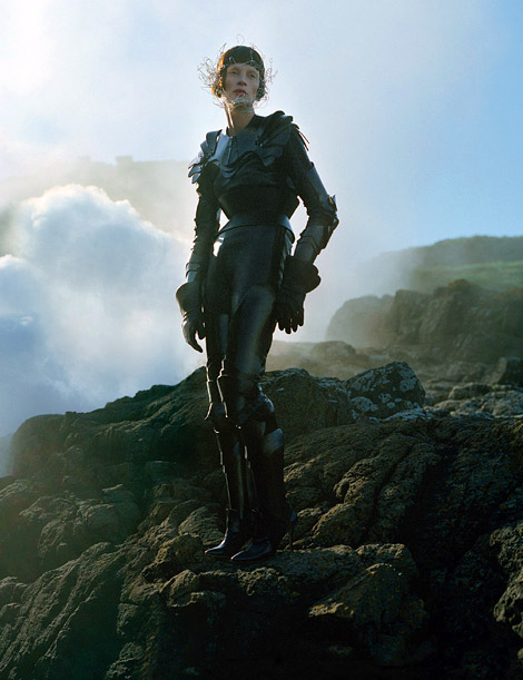 Boot/Glove Fashion: Kristen McMenamy in Hugo Leather Boots and La Crasia Leather Gauntlets. W Magazine, 09.2012.