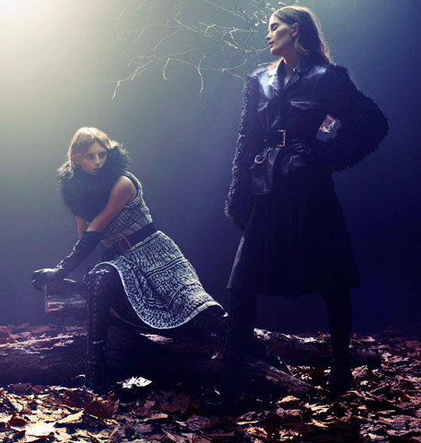 Boot/Glove Fashion: Iekeliene Stange and Rosemary Smith in Alexander McQueen Thigh High Boots and Leather Opera Gloves. Net A Porter McQ Look Book, Fall 2012.