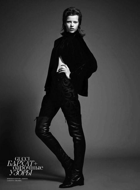 Boot Fashion: Kadri Vahersalu in Chanel Thigh High Boots. Harper's Bazaar Russia, 09.2012.