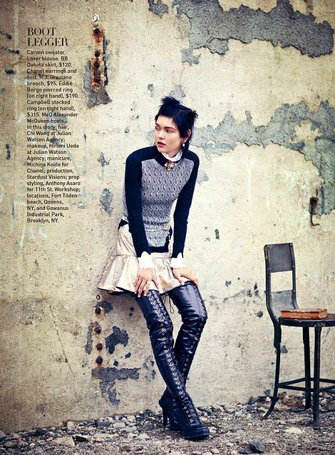 Boot Fashion: Kolfinna Kristófersdóttir in Alexander McQueen Thigh High Boots. Vogue Teen, 08.2012.
