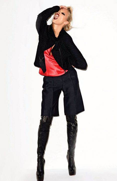 Boot Fashion: Marloes Horst in Casadei Thigh High Boots. Elle UK, 08.2012.