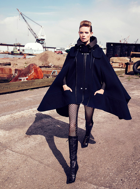 Boot Fashion: Julia Stegner in Sergio Rossi Laced Knee High Boots. Harper's Bazaar UK, 08.2012.