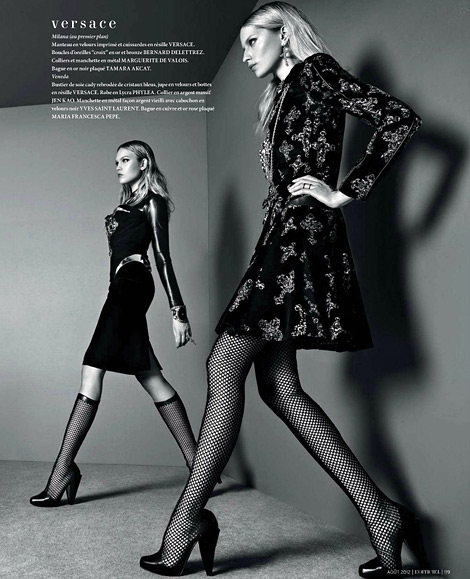 Boot Fashion: Milana Keller and Svetlana Kudina in Versace Boots. L'Officiel Paris, 08.2012.