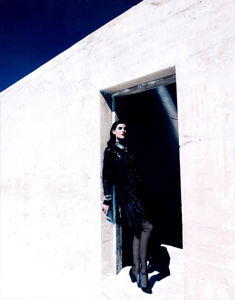 Boot Fashion: Hilary Rhoda in Versace Thigh High Boots. Harper's Bazaar US, 09.2012.