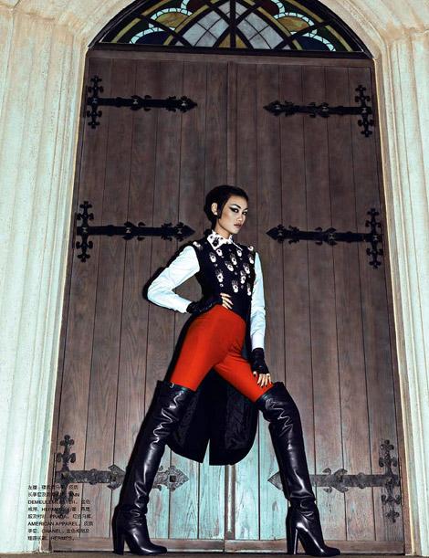 Boot Fashion: Huang Xiaomeng in Hermès Thigh High Boots. Numéro China, 09.2012.