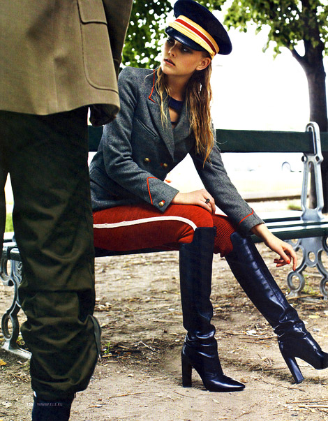 Boot Fashion: Anne Sophie Monrad in Costume National Knee High Boots. Elle Russia, 09.2012.