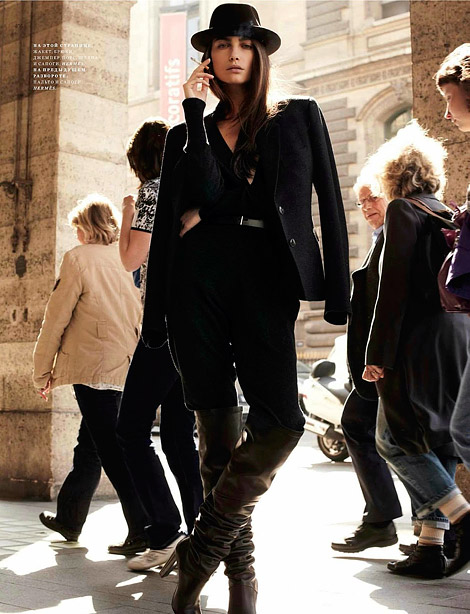 Boot Fashion: Kat Zakharchenko in Hermès Over The Knee Boots. Harper's Bazaar Russia, 09.2012.