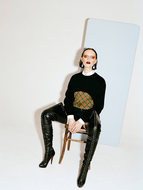 Boot Fashion: Dempsey Stewart in Christian Louboutin Crotch High Boots. Under The Influence, Spring/Summer 2012.