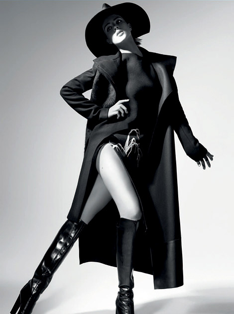 Boot Fashion: Eliza Cummings in Costume National Knee High Boots. Costume National Fall/Winter 2012/2013 Campaign.