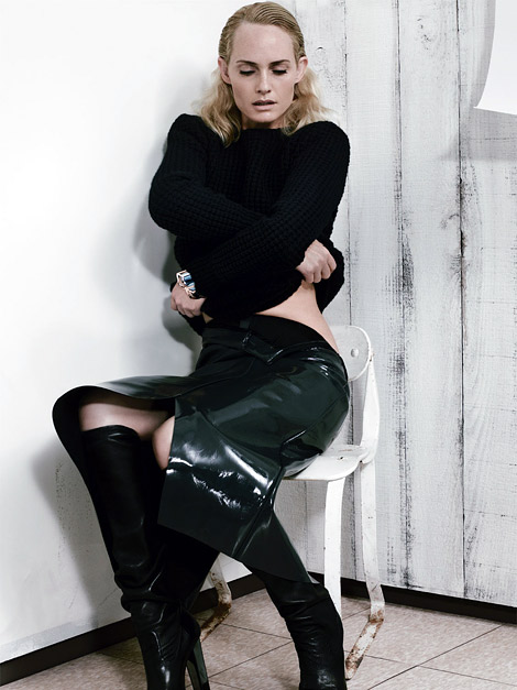 Boot Fashion: Amber Valletta in Yves Saint Laurent Knee High Boots. Vogue Italia, 09.2012.