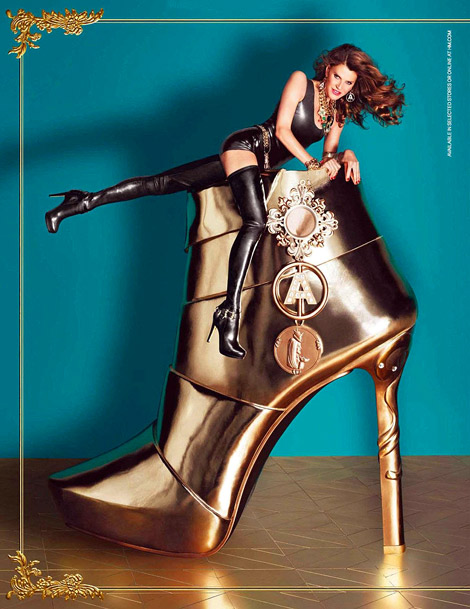 Celebrities in Boots: Anna Dello Russo in H&M Crotch High Boots. H&M Fall/Winter 2012/2013 Campaign.