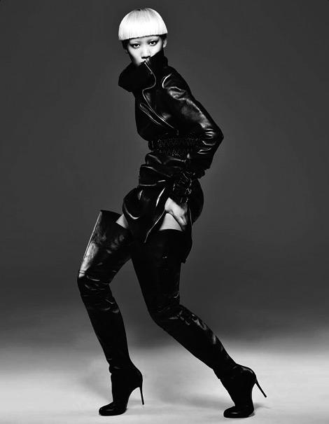 Boot Fashion: Huang Xiao Meng in Christian Louboutin Thigh High Boots. Numéro China #23, 11.2012.