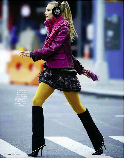 Boot Fashion: Zuzanna Krzatala in Giuseppe Zanotti Knee High Boots. Marie Claire Russia, 12.2012.