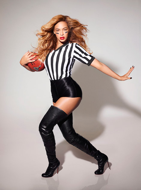 Celebrities in Boots: Beyonce in Christian Louboutin Thigh High Boots. SuperBowl 2013 Promo.