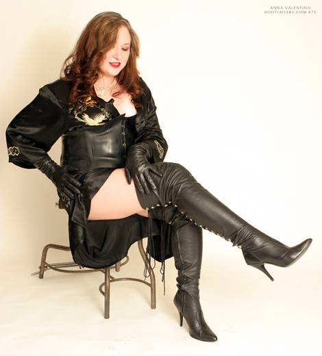 Bootlovers.com #75 Preview: Anna Valentina in Thigh High Boots & Leather Elbow Length Gloves.