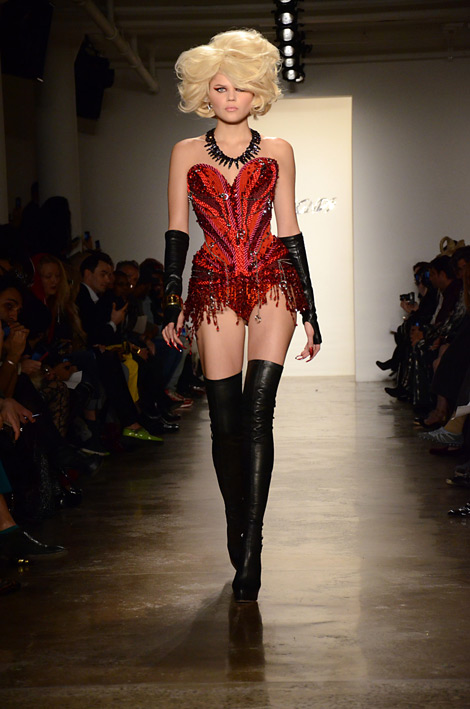 Runway Boots: Unknown Model in Christian Louboutin Thigh High Boots. The Blonds, Fall/Winter 2013/2014 NYC Runway.