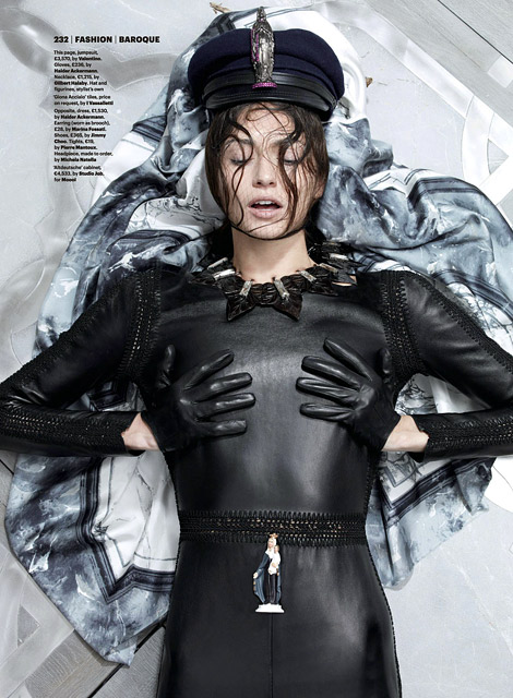 Glove Fashion: Bara Holotova in Haider Ackermann Leather Gloves. Wallpaper Magazine, 09.2012.