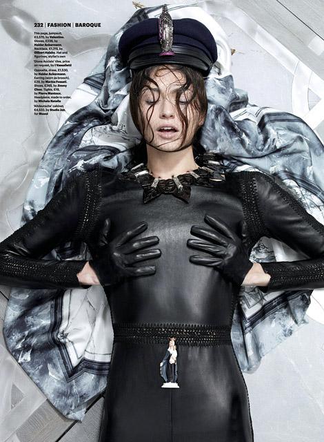 Glove Fashion: Bara Holotova in Haider Ackermann Leather Gloves. Wallpaper Magazine, 09.2012.