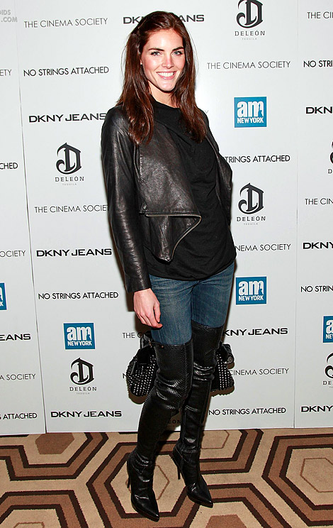 Celebrities in Boots: Hilary Rhoda in Burberry Prorsum Thigh High Boots. NYC, 01.20.2011.