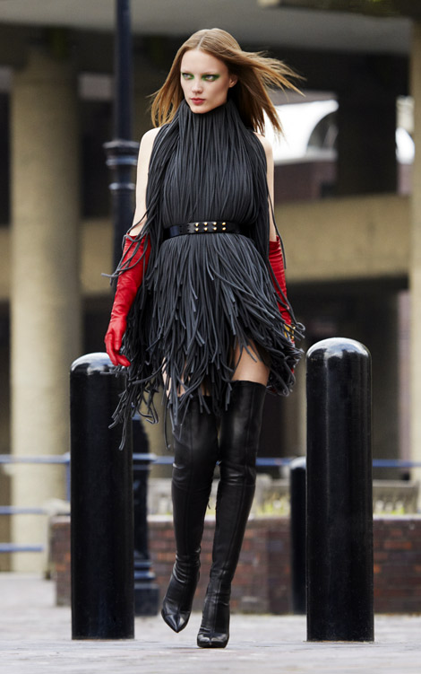 Boot/Glove Fashion: Natalia Chabanenko in Sergio Rossi Thigh High Boots and Lanvin Red Leather Gloves. Black #17, Fall 2012.