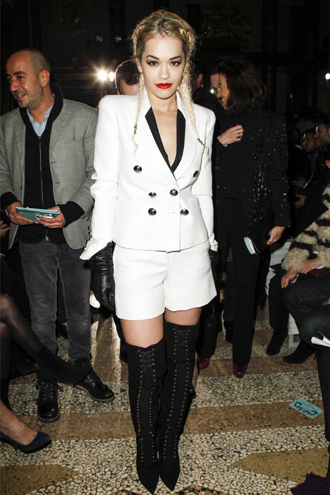 Celebrities in Boots/Gloves: Rita Ora in Pucci Thigh High Boots & Leather Gloves. Milan, 02.23.2013.