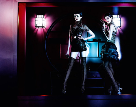 Boot Fashion: Fei Fei Sun and Sui He in Alexander McQueen Thigh High Boots. Vogue UK, 03.2013.