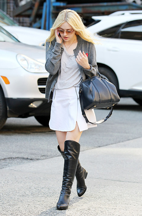 Celebrities in Boots: Dakota Fanning in Alexander Wang Over The Knee Boots. NYC, 09.21.2012.