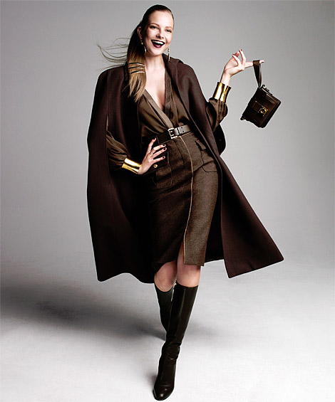 Boot Fashion: Eniko Mahalik in Salvatore Ferragamo Knee High Boots. Harper's Bazaar US, 09.2012.