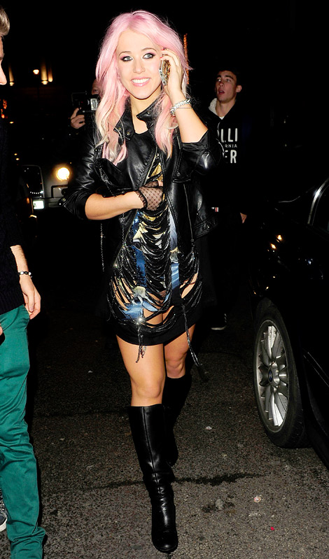 Celebrities in Boots: Amelia Lily in Knee High Boots. London, 12.17.2012.