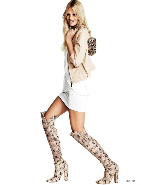 Boot Fashion: Nadine Leopold in Salvatore Ferragamo Over The Knee Boots. Grazia Italia, 02.2013.