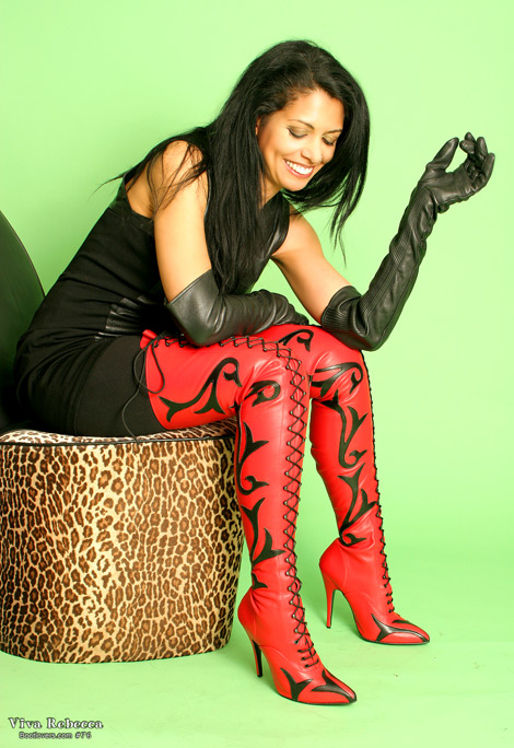 Bootlovers.com #76 Early Preview: Viva Rebecca in Thigh High Black/Red Scroll Boots!