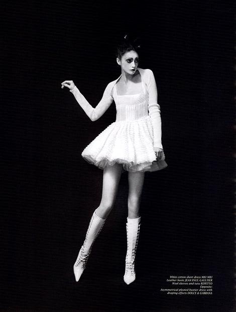 Boot Fashion: Anna Schilling in Jean Paul Gaultier Knee High Boots. Wound Magazine, Summer 2008.