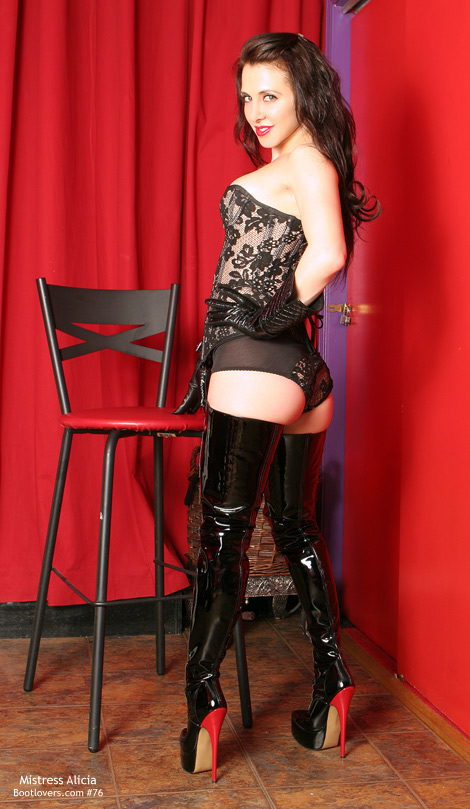 Bootlovers.com #76 Preview: Mistress Alicia in Patent Leather Crotch High Boots!