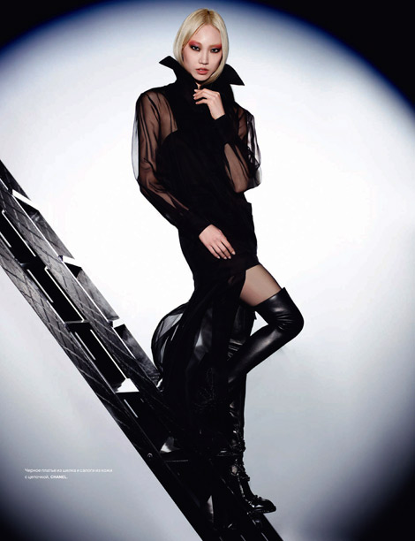 Boot Fashion: Soo Joo in Chanel Thigh High Boots. Numéro Russia #3, 05.2013.