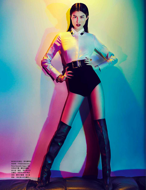 Boot Fashion: Sui He in Over The Knee Boots. Harper's Bazaar Hong Kong, 05.2013.