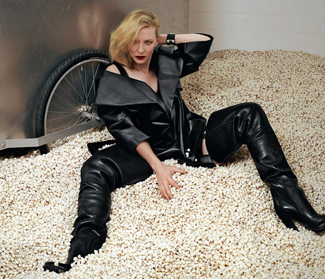 Celebrities in Boots: Cate Blanchett in Prada Crotch High Boots. 032c Magazine #24, Spring/Summer 2013.