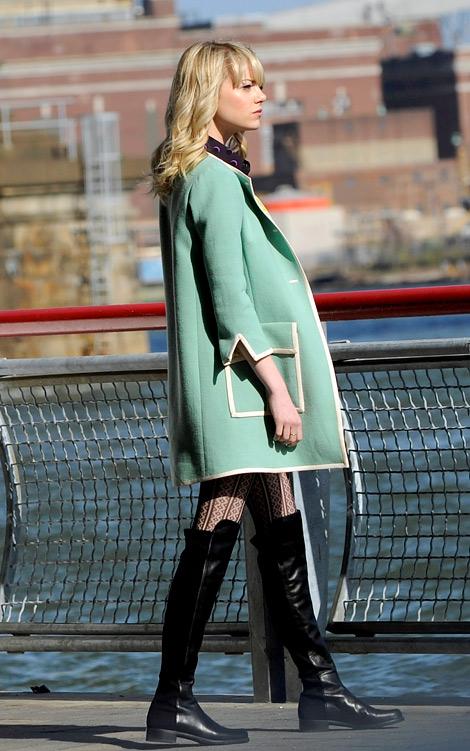 Celebrities in Boots: Emma Stone in Stuart Weitzman Over The Knee Boots. New York City, 05.05.2013.