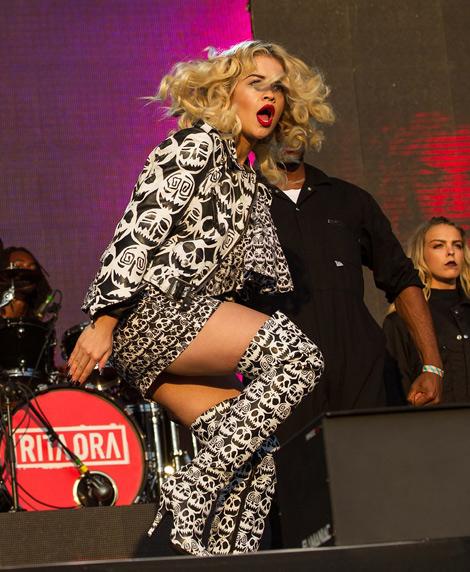 Celebrities in Boots: Rita Ora in Jeremy Scott Thigh High Boots.