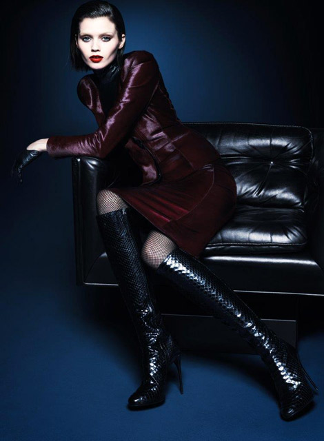 Boot Fashion: Abbey Lee Kershaw in Gucci Knee High Boots. Gucci Fall/Winter 2013/2014 Campaign.