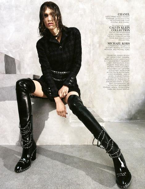 Boot Fashion: Irina Nikolaeva in Chanel Thigh High Boots. Vogue Russia, 08.2013.